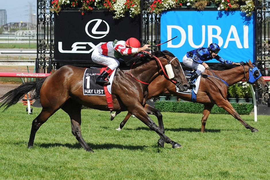 HAY LISTChampion sprinter lunges right on the line to defeat Buffering in the 2012 Newmarket Hcp